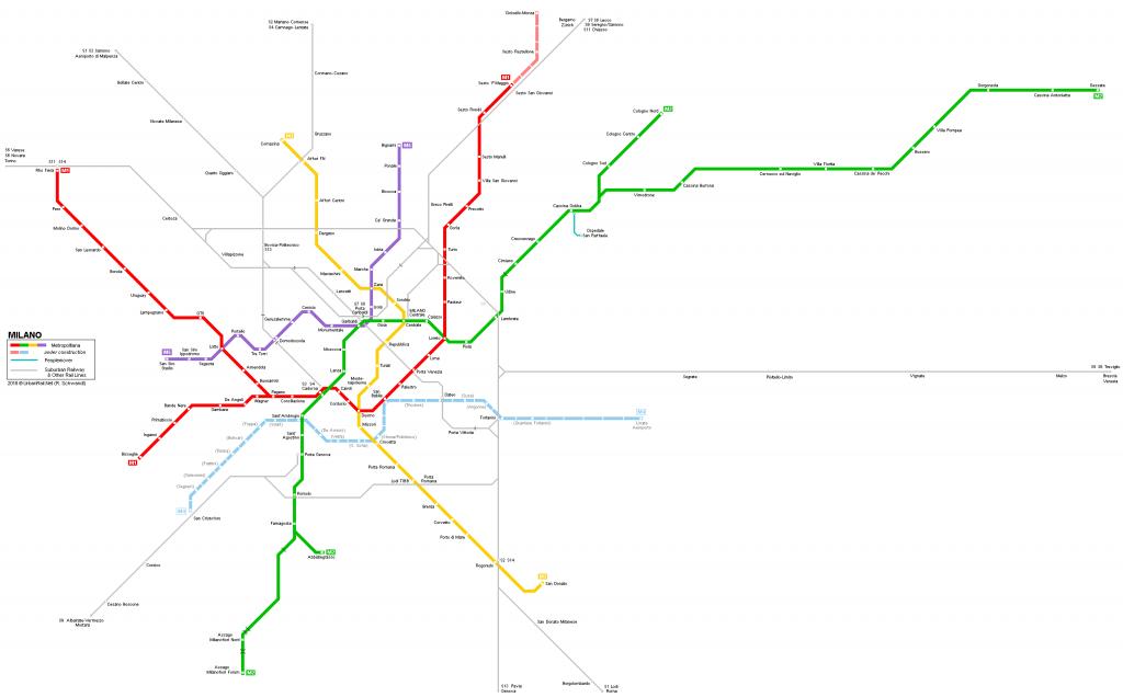 Metro map of milan